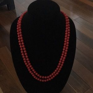 Red bead double stranded necklace